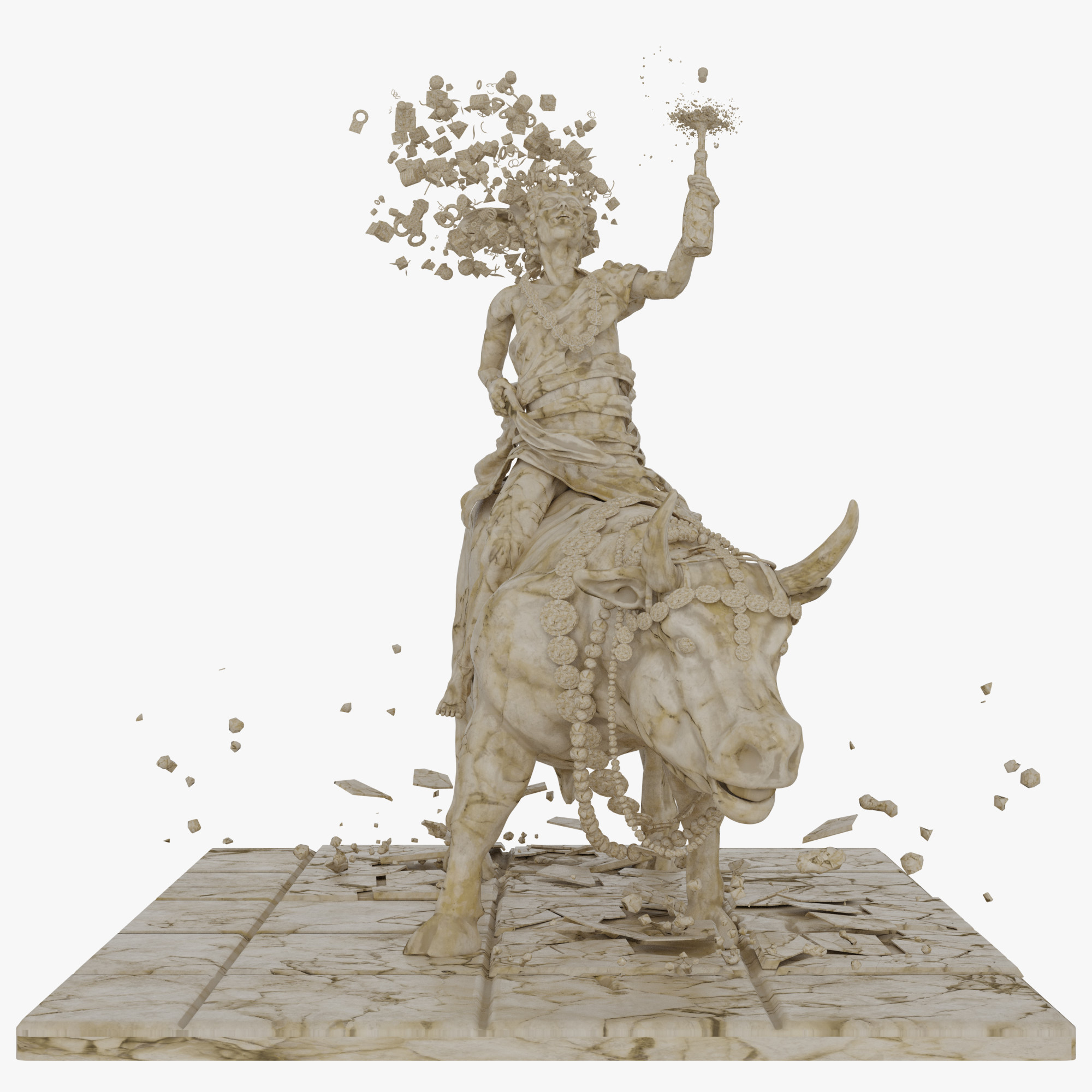 3D europe sculpt modeled model