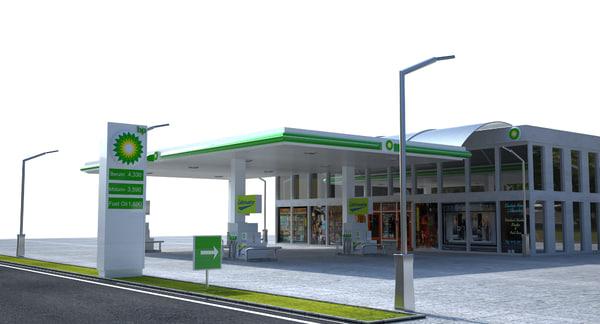 bp gas station 3D model