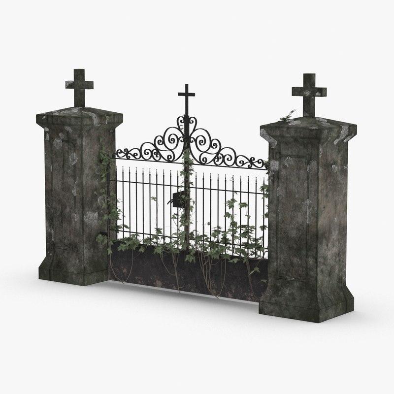 3D cemetery-gates-01 model