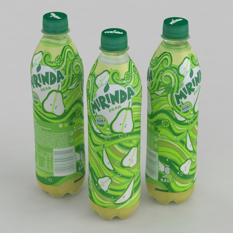 beverage bottle mirinda pear 3D model