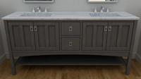 3D double vanity bathroom cabinet
