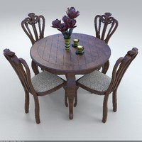 3D set chairs table
