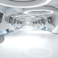 sci-fi futuristic corridor model