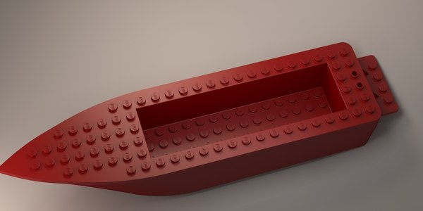 lego boat hull floating 3D model