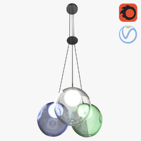 3 bubbles chandelier 3D