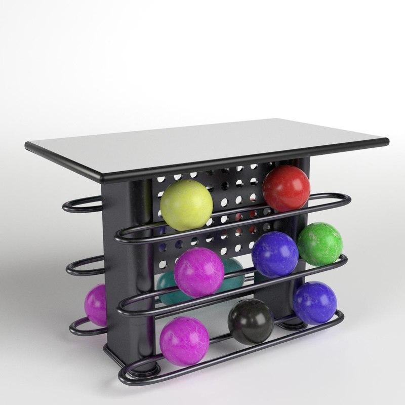 3D bowling table rack 2 model