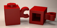 3D lego brick 1x1 horizontal