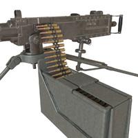 3D machine gun browning m2hb model