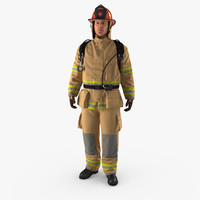 3D model firefighter standing pose