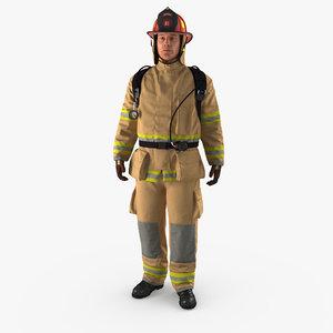 3D model firefighter standing pose