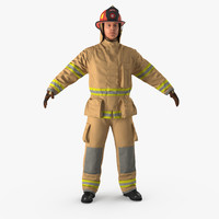 Firefighter with Fully Protective Suit