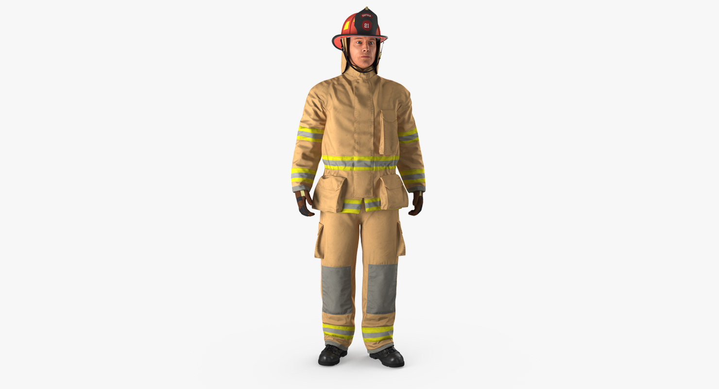 3D firefighter fully protective suit model