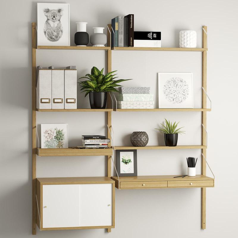 decor shelf drawers 3D model