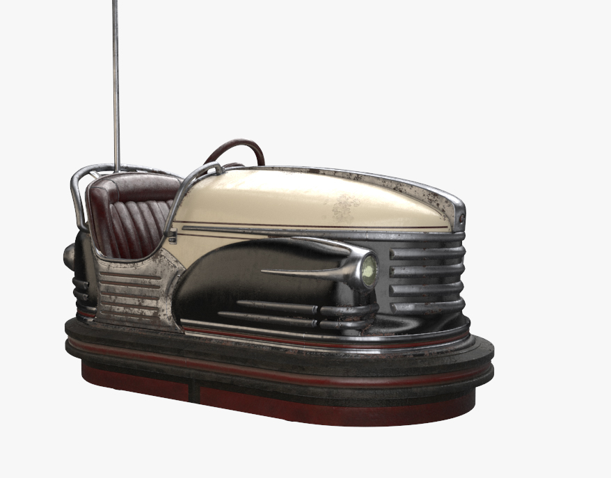 vintage bumper car antique 3D