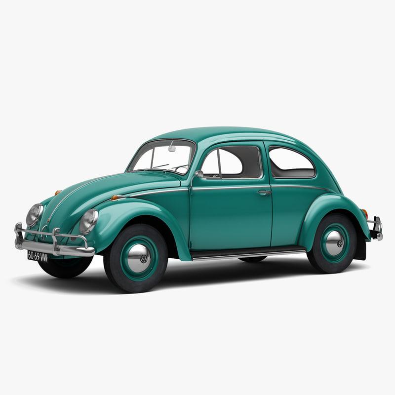 3D volkswagen beetle 1962