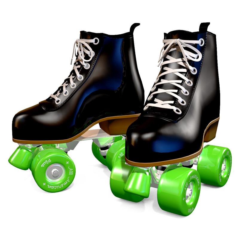 3d retro roller skates turbosquid 1156806