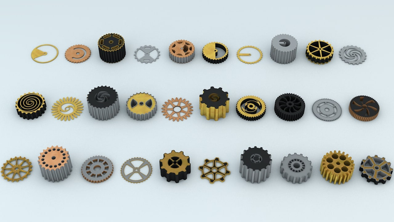3D design steampunk cogwheels model