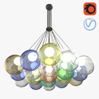 3D 19 colored bubbles chandelier