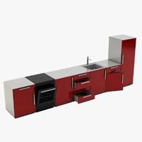 3D model modern kitchen red