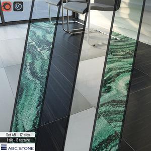 3D tile abc stone set