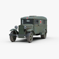 3D soviet gaz 55 military ambulance