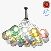 3D model 24 colored bubbles chandelier