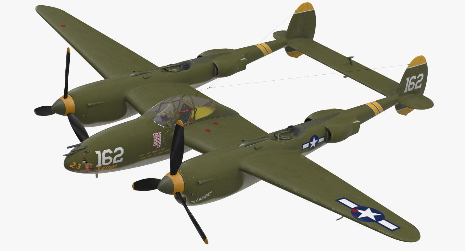 lockheed p-38 lightning wwii 3D model
