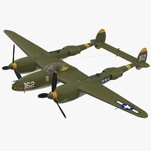 lockheed p-38 lightning wwii 3D model