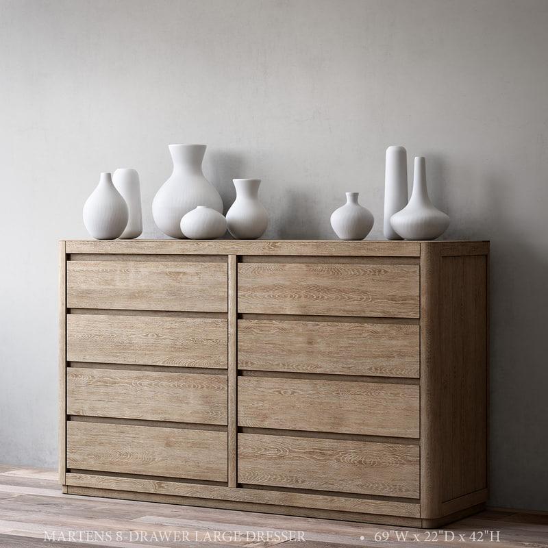 3D martens 8-drawer large dresser model