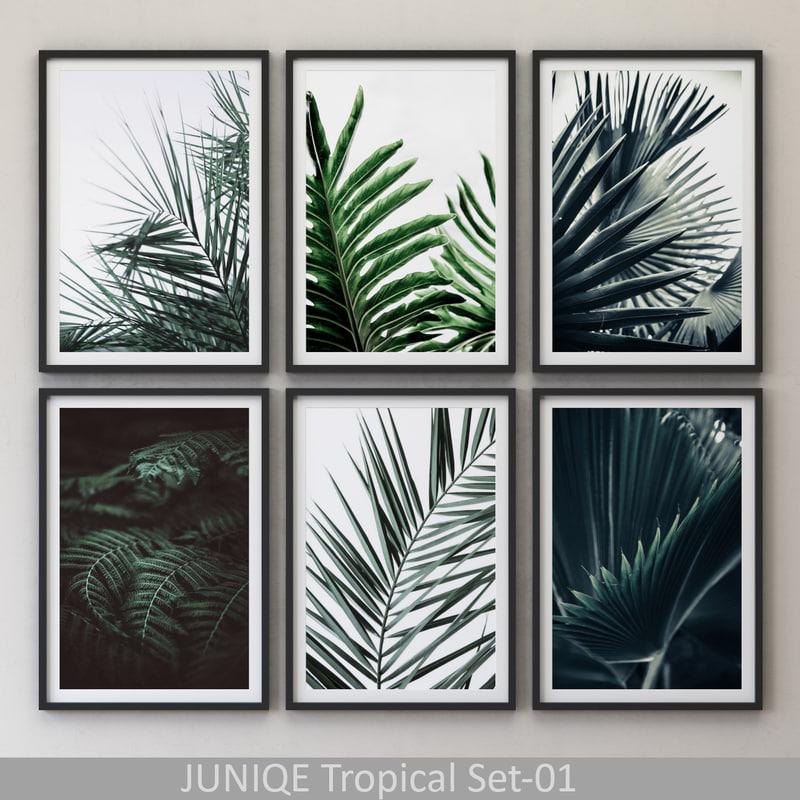 juniqe tropical set-01 framed 3D model