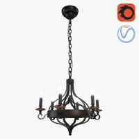 medieval loft candles chandelier 3D model