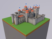 low-poly medieval castle 3D