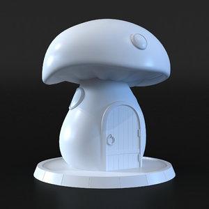 3D mushroom house model