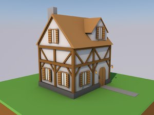 3D low-poly medieval house