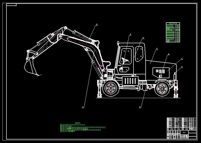 wly5 mini tire excavator 3D model