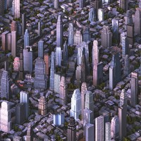 3D model cityscape city streets