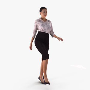 business woman upstairs human body 3D model
