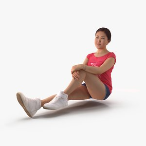 sport woman sitting human body 3D model