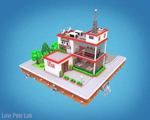 3D city block office parking model
