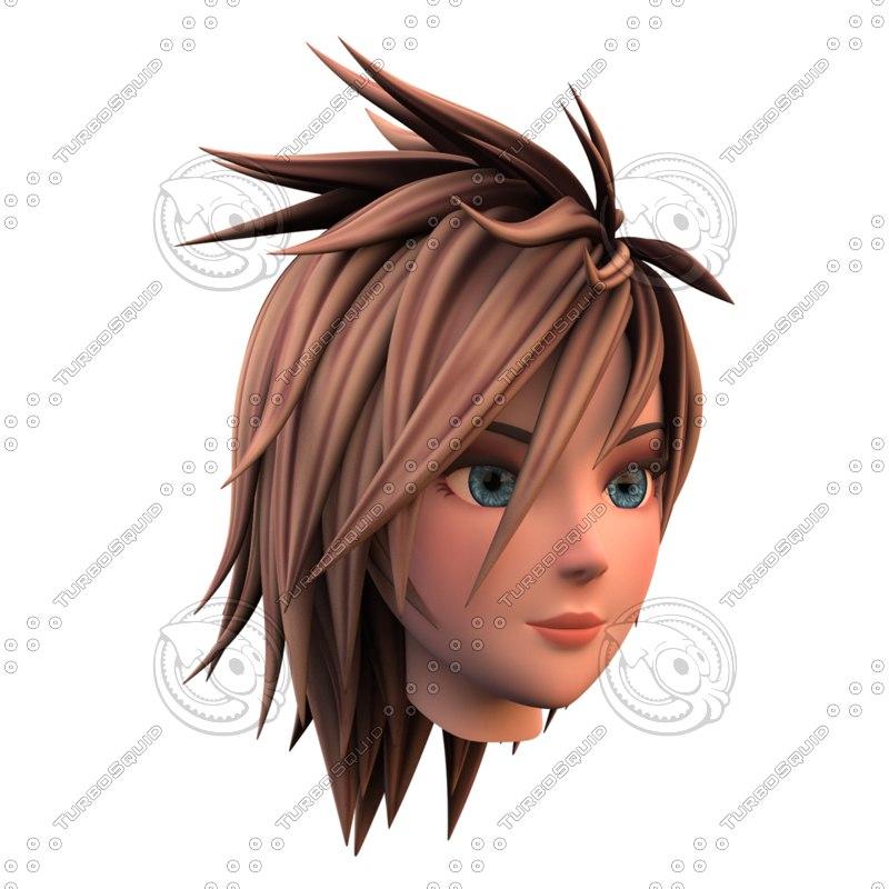 3d girl head template model turbosquid 1157251