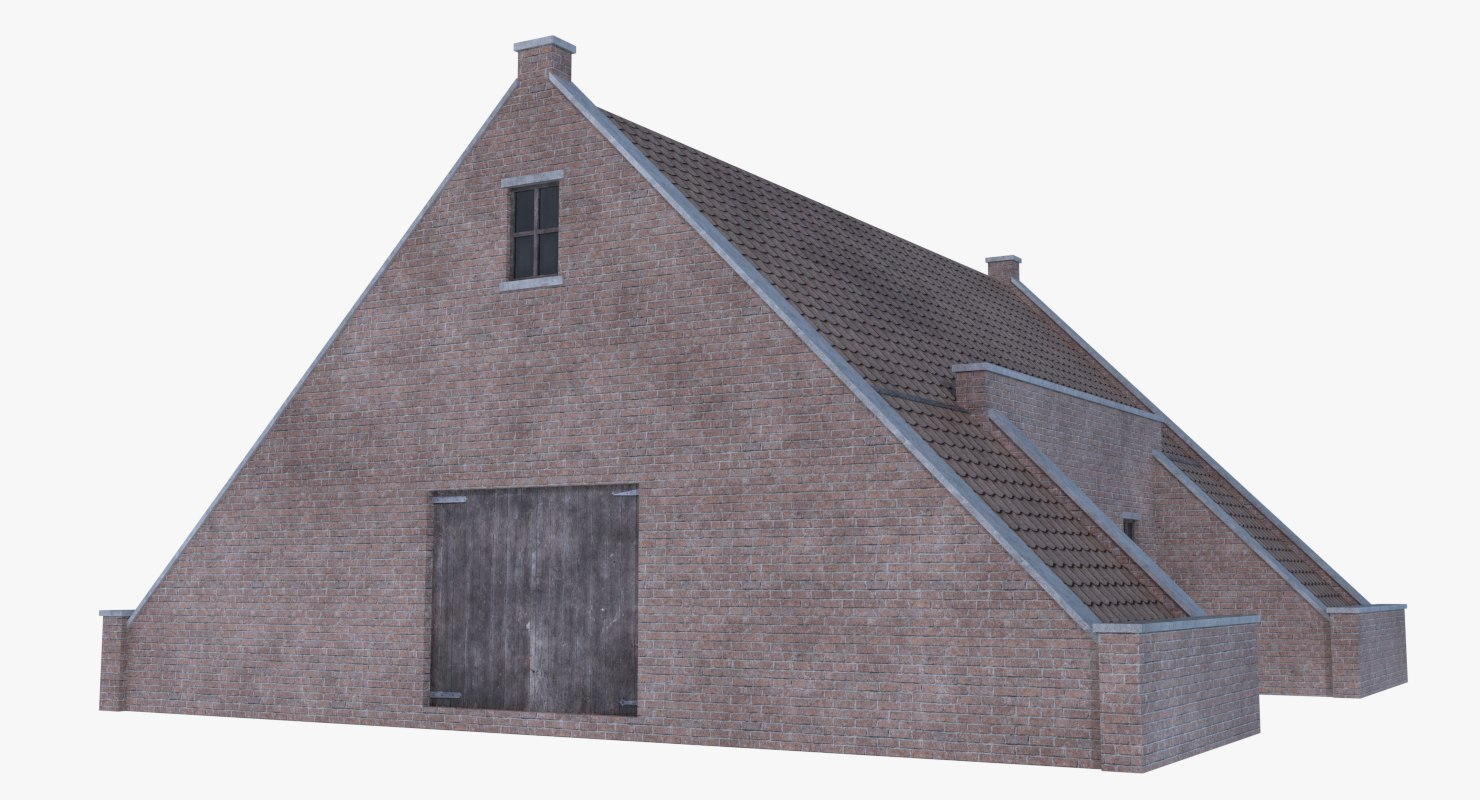 old brick barn 3D model