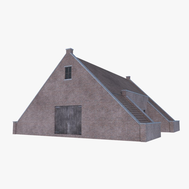 old brick barn 3D model