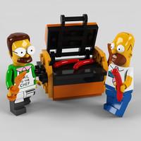 3D lego homer simpson