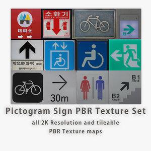Pictogram Sign PBR Texture Set [9 images]