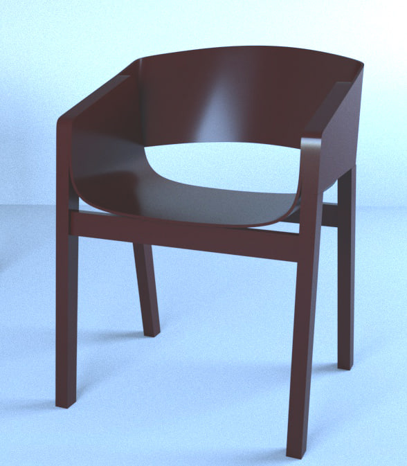 3D model wooden chair merano