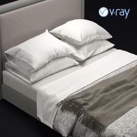 modern bedframe bed 3D