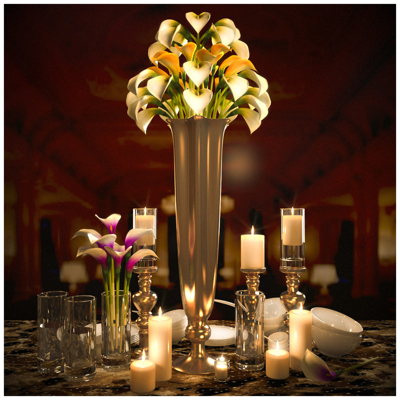 3D tableware lilies candles
