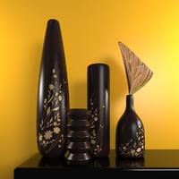 decorative wooden vases 3D model