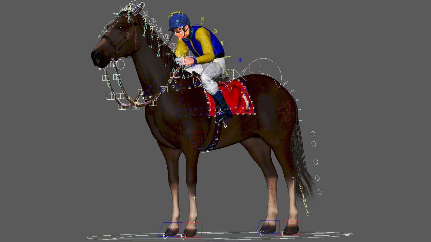 rigged racing horse jockey model