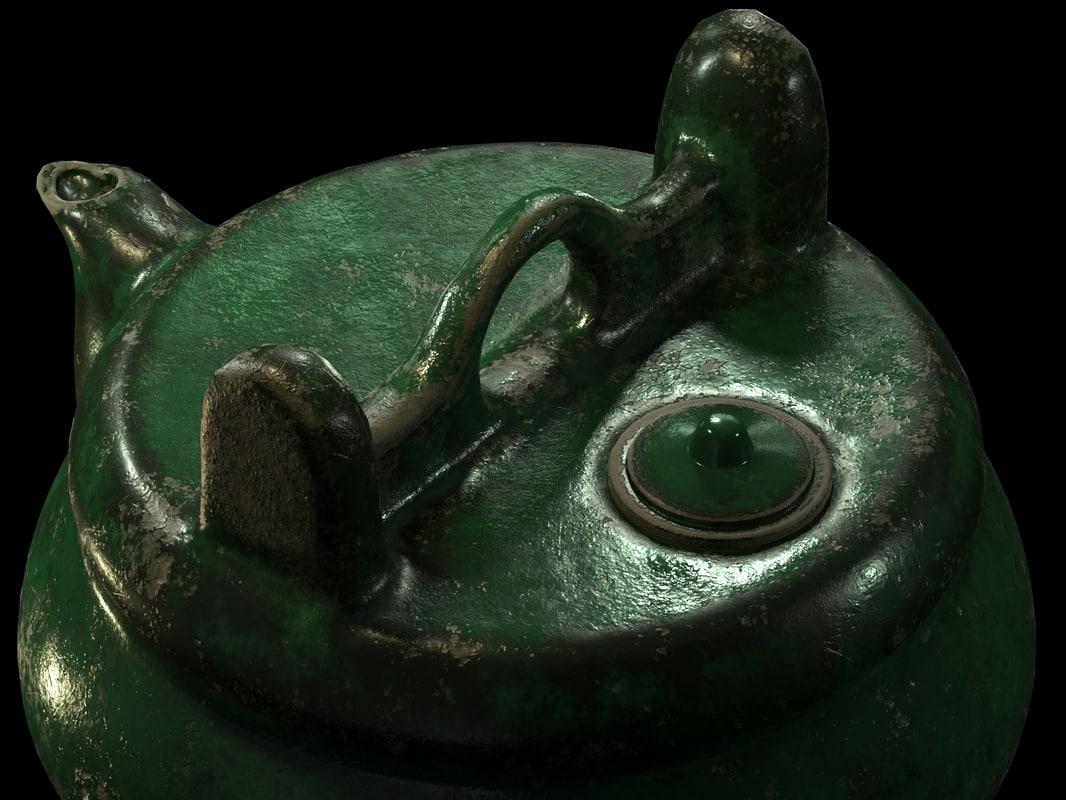 3D shiwan emerald green teapot model